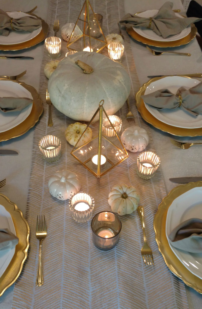White and Gold Fall Pumpkin Table Decor