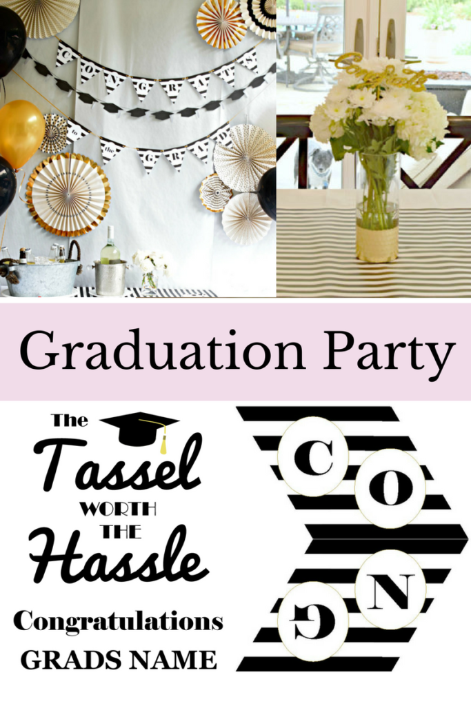 Graduation Party ideas | Classic Black and White Graduation | Graduation Party Decorations | Graduation Party Decor | Graduation Free Printables | Free Graduation Banner | Free Graduation Sign Printable | Black White and Gold Grad Party