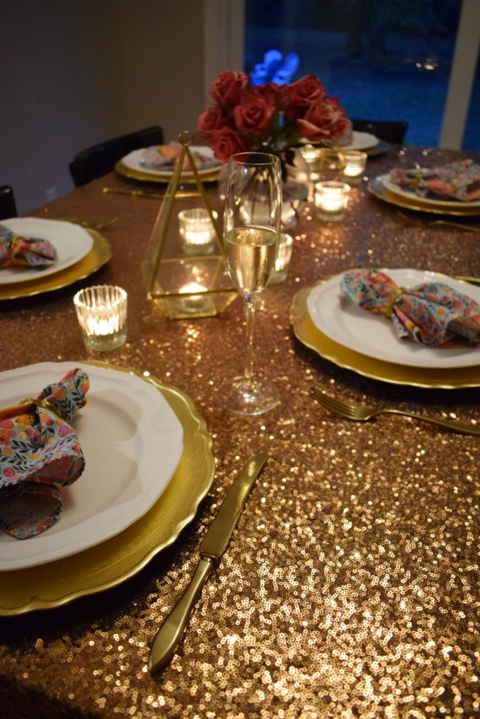 Gold and Rose Gold Birthday Tablescape