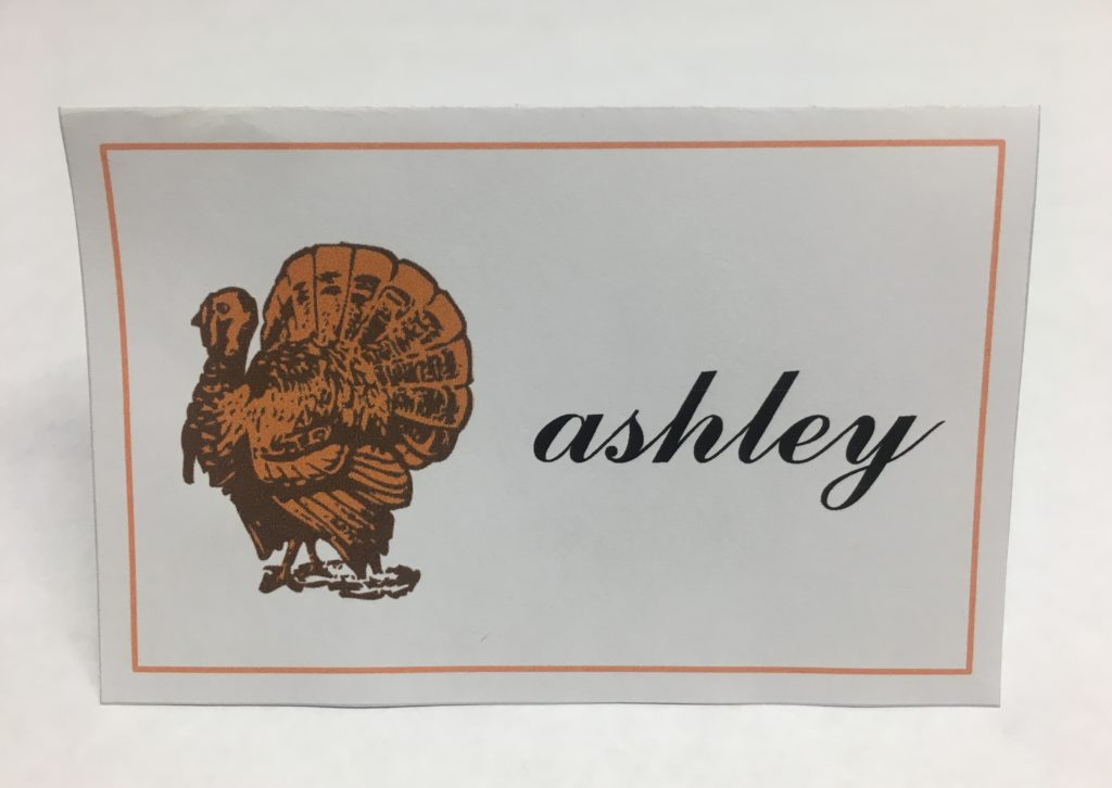 Thanksgiving Turkey Printable Name Card