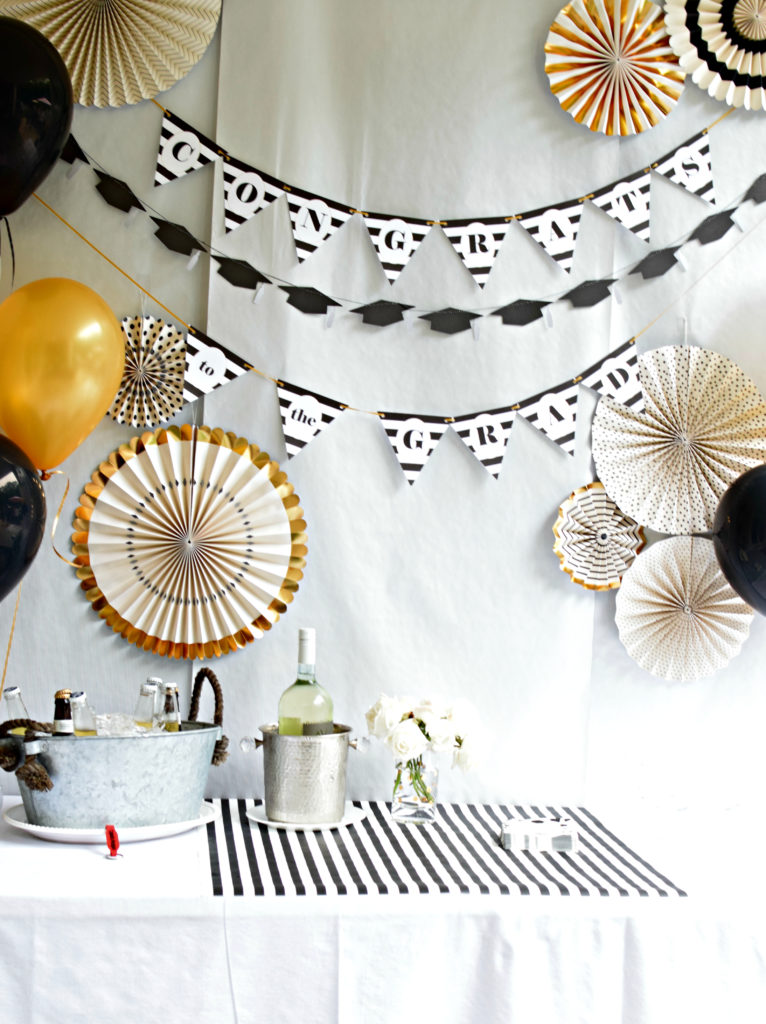Classic Black And White Graduation Party Decorations With Gold Accens