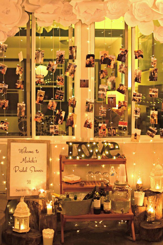 Engagement Photo Wall, Engagement Photos, Engagement photos bridal shower, Bridal Shower, Rustic Bridal Shower, White Bridal Shower, Neutral bridal Shower, Woodland Bridal Shower, Farmhouse Bridal Shower, Lace bridal Shower, Woodsy Bridal Shower, Free Printable Bridal Shower, Bridal Shower Games, Birch Bridal Shower, Outdoor bridal Shower, Lantern Bridal Shower, Wedding Decorations, Rustic Wedding, Mason Jar Wedding. Farm house wedding