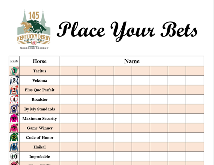 kentucky derby party games betting